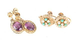 Two Pairs of Gold Victorian Earrings