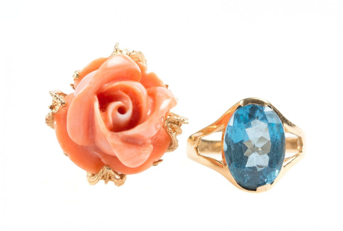 A Gold Coral Ring and a Blue Topaz Ring