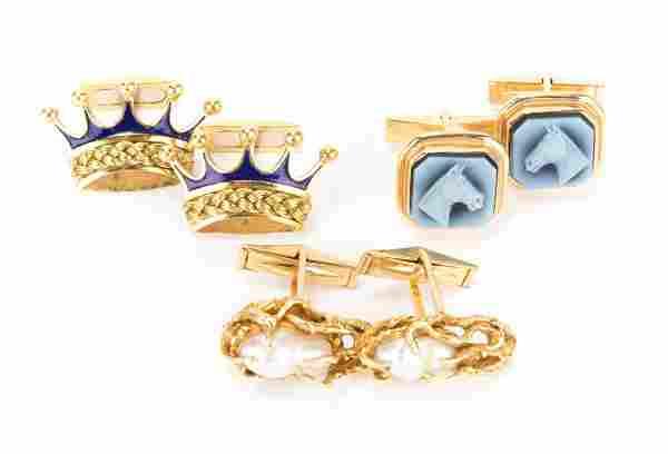 Three Pairs of Gold Cufflinks