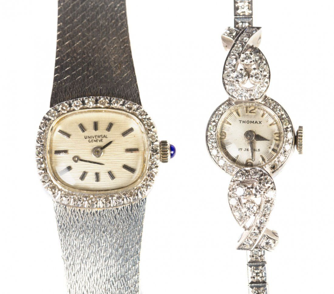 Two Lady's Diamond Watches in 14K White Gold