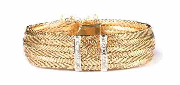 A Lady's 14K Gold Woven Bracelet