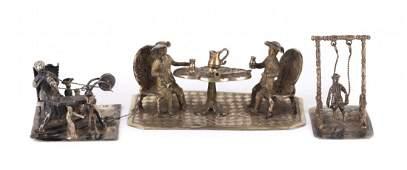 Three Dutch silver miniature dioramas