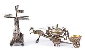 Continental silver miniature windmill & 2 wagons