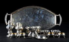 Group of 11 Austrian silver small table articles