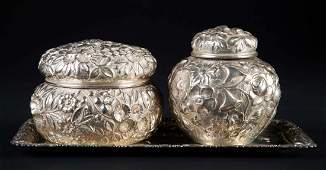 2 Baltimore repousse sterling lidded dresser jars