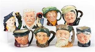 Eight Royal Doulton china character jugs