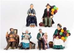 Six Royal Doulton china figures