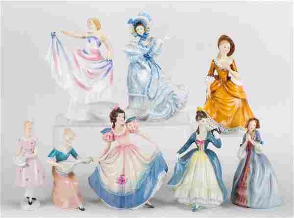 Eight Royal Doulton china figures