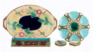 Nine pieces of Victorian majolica