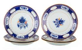 Six Chinese Export porcelain dinner plates