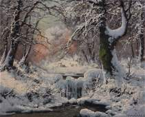 "Laszlo Neogrady. ""The First Snow,"" oil on canvas"