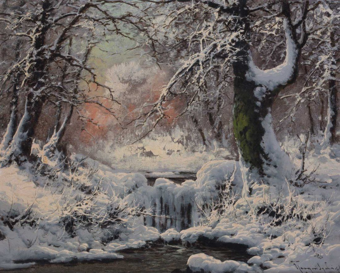 """Laszlo Neogrady. """"The First Snow,"""" oil on canvas"""