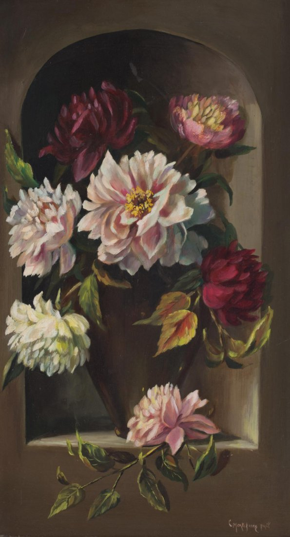 """Cynthia Montefiore. Peonies in an Alcove...,"""" oil"""