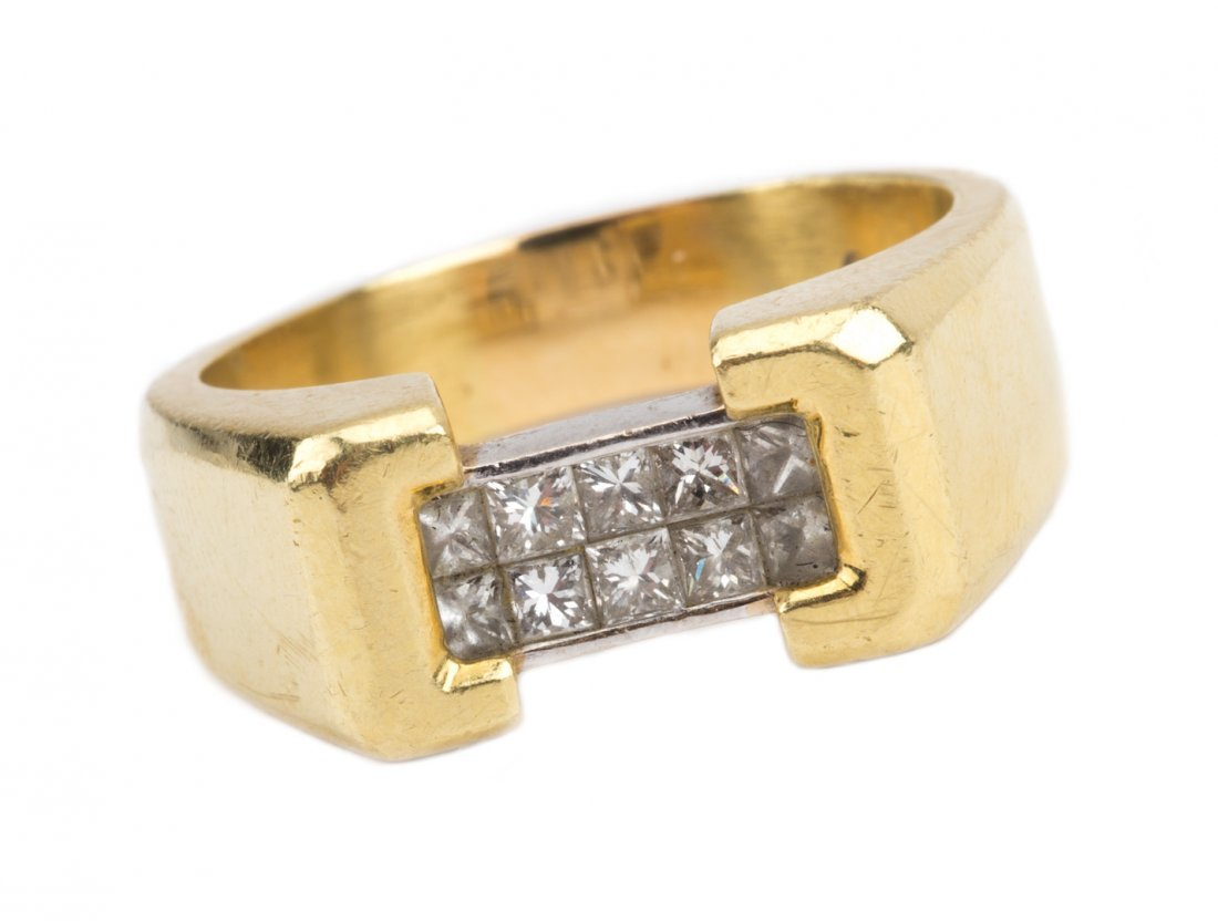 A Gent's Gold and Platinum Diamond Ring