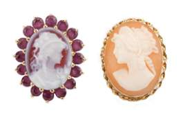 A Cameo Ring and Pendant in Gold