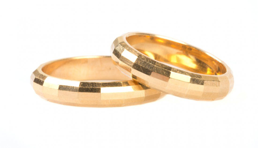 A Pair of Matching Gold Wedding Bands