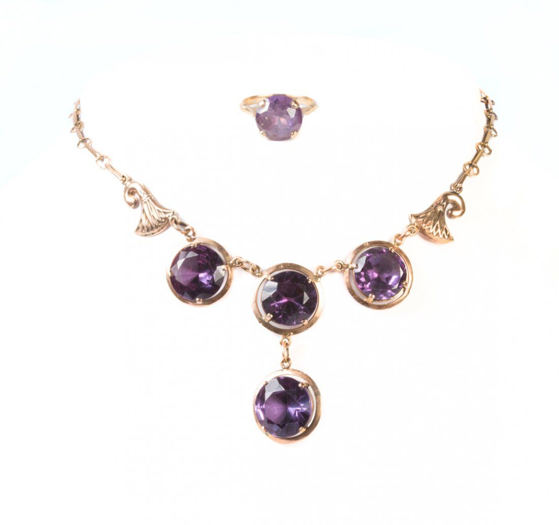A Victorian Gold Amethyst Necklace and Ring