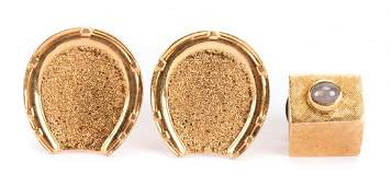 A Pair of Gents Cufflinks and Tie Tack