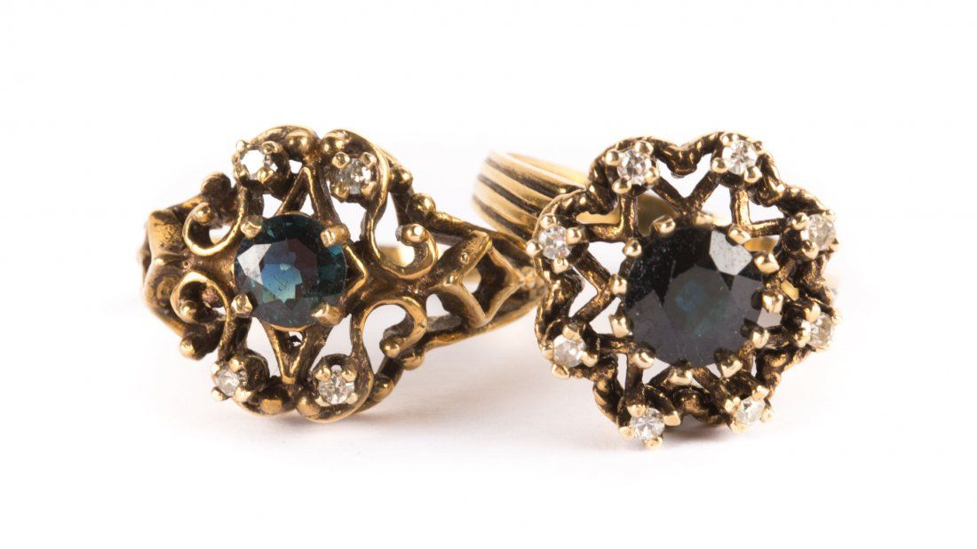A Pair of Lady's Gold Sapphire and Diamond Rings