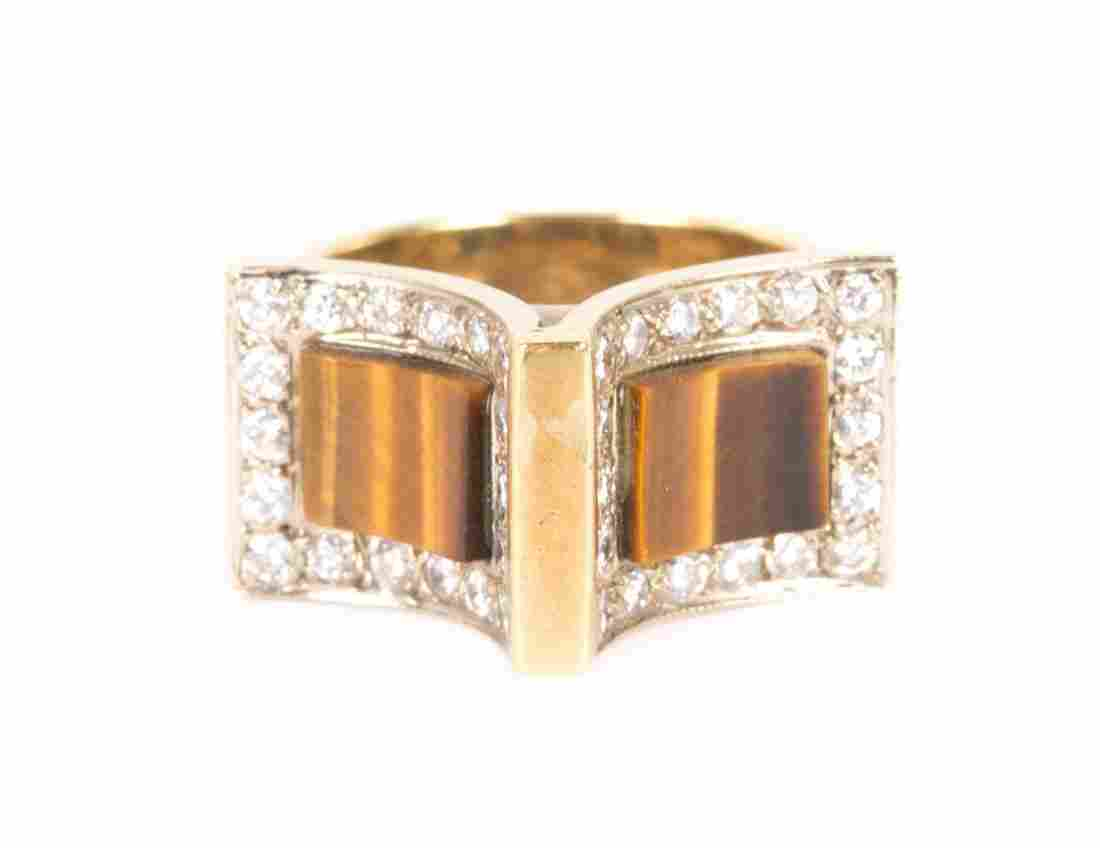 A Tiger's Eye and Diamond Ring in 14K Gold
