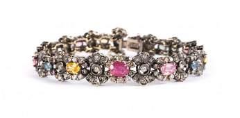 A Multi Colored Sapphire and Diamond Bracelet