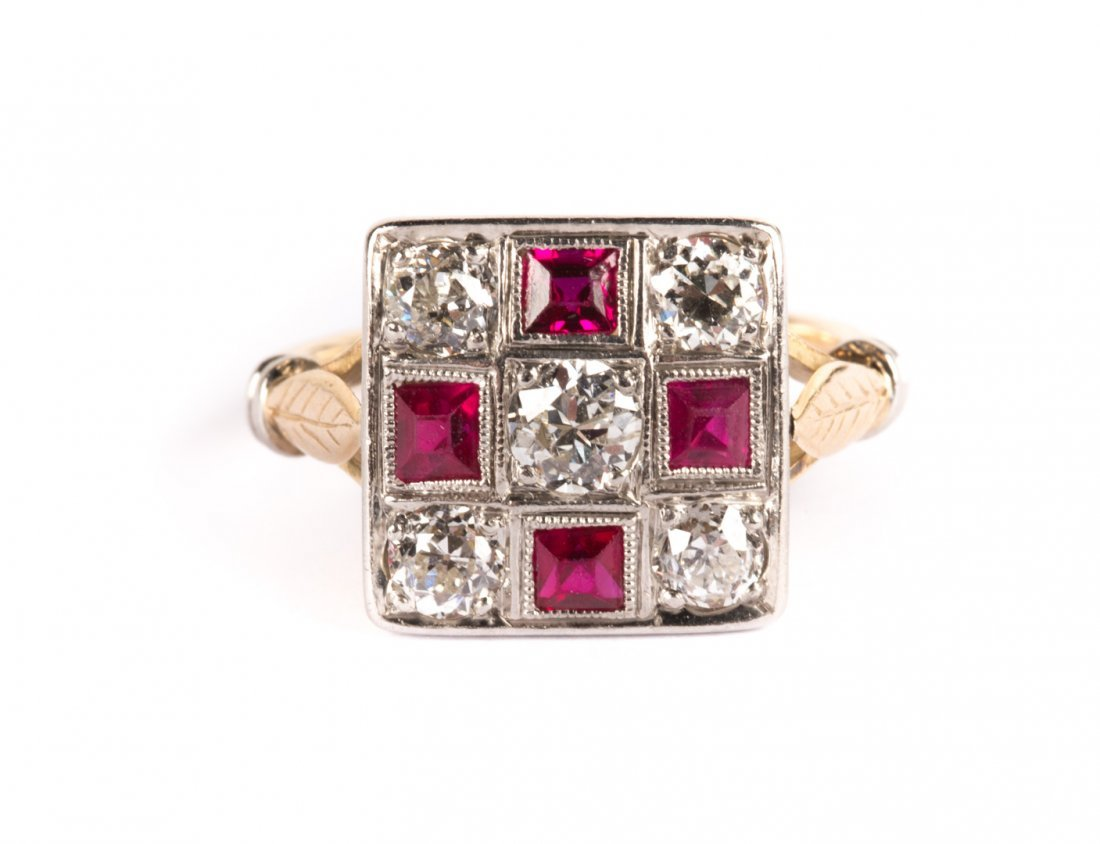A Vintage Ruby and Diamond Art Deco Ring
