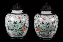 Pair Chinese Export Famille Verte ginger jars