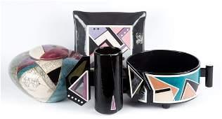 Four pieces of contemporary art pottery