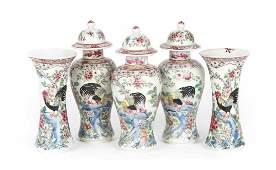 Chinese Export miniature five-piece garniture