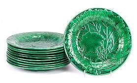 11 English majolica dinner plates