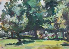 Raoul Middleman. Tranquil Park, oil on board
