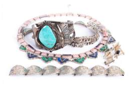 A Collection of Silver Native American Jewelry