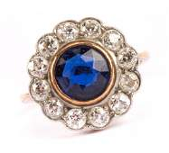 A Ladys Sapphire and Diamond Ring