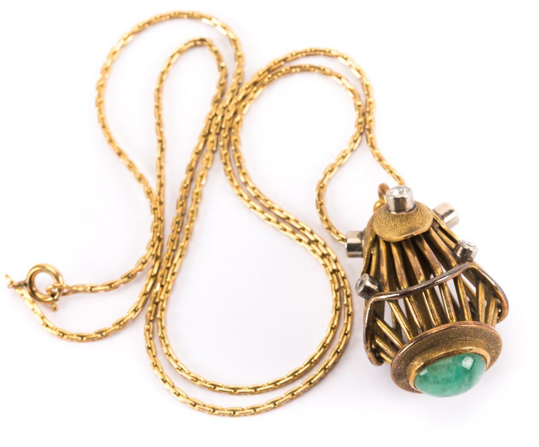 A Gold Jade and Diamond Watch Fob on Chain
