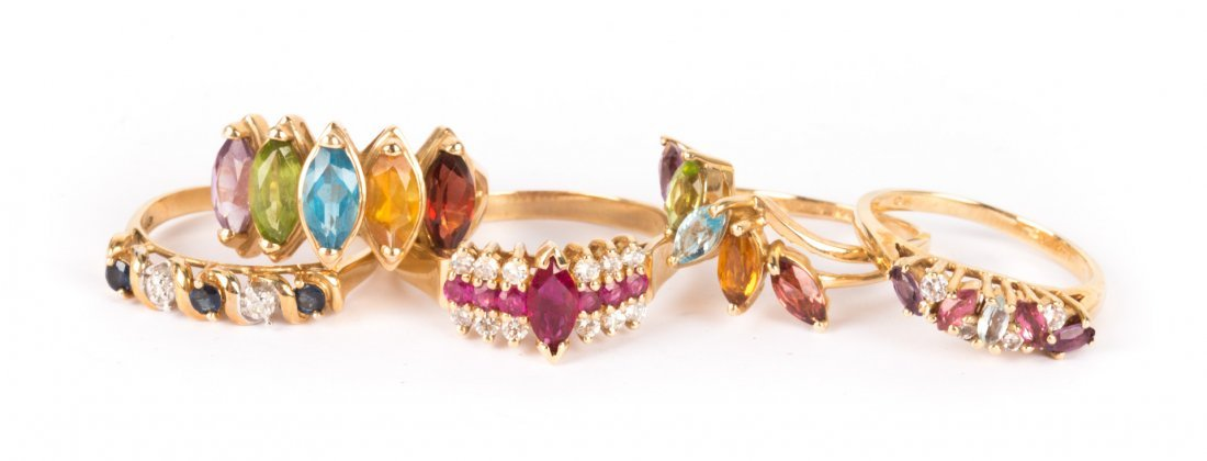 A Collection of Lady's Gemstone Rings