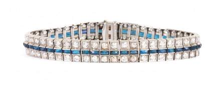 An Art Deco Diamond and Sapphire Bracelet