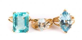 Three Lady's Gemstone Cocktail Rings