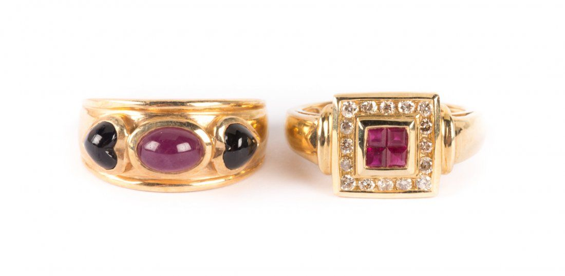 A Pair of Lady's Colored Gemstone Rings