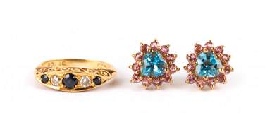 A Sapphire and Diamond Ring  Gem Stone Earrings