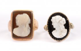 A Pair Of Victorian Cameo Rings