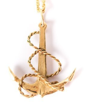 An Anchor Pendant And Rope Chain In 14k Gold