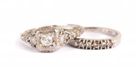 A Lady's White Gold Diamond Wedding Set