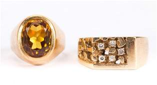 A Gold Diamond Ring and a Gold Citrine Ring