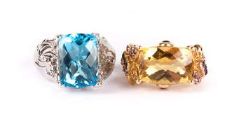 A Ladys Blue Topaz and Citrine Rings