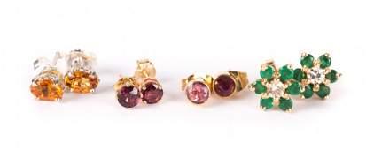 Four Pair of Stud Earrings