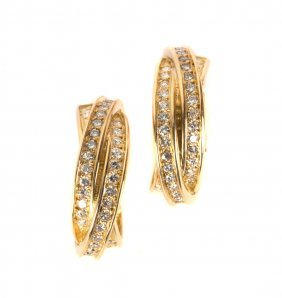 A Pair of Trinity Diamond Earrings by Cartier
