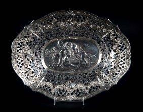 German Silver Open Worked Bread Basket