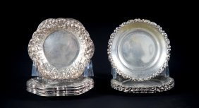 Assorted American Repousse Sterling Butter Pats