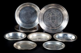 Eight Assorted Sterling Ashtrays And Coasters