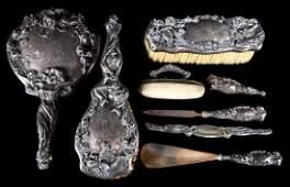 Art Nouveau style silver vanity set